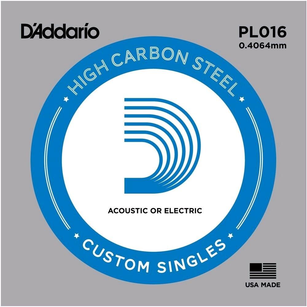 D'ADDARIO PL016 SINGLE .016 PLAIN STEEL