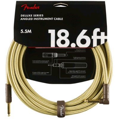 FENDER 099-0820-082 DELUXE 18.6' ANGL INSTRUMENT CABLE /TWEED