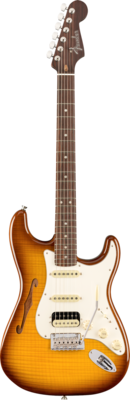 FENDER 017-6501-833 RARITIES STRATOCASTER HSS THINLINE w/SOLID RW NECK /VIOLIN BURST /CASE