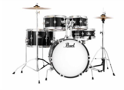 PEARL RSJ465CC31 ROADSHOW Jr. 5PCS DRUM KIT w/HARDWARE/THRONE/HH/RIDE/STICKS (Jet Black)