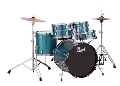 PEARL RS505CC703 ROADSHOW 5 PIECE DRUMSET w/CYMBALS /THRONE /AQUA BLUE GLITTER