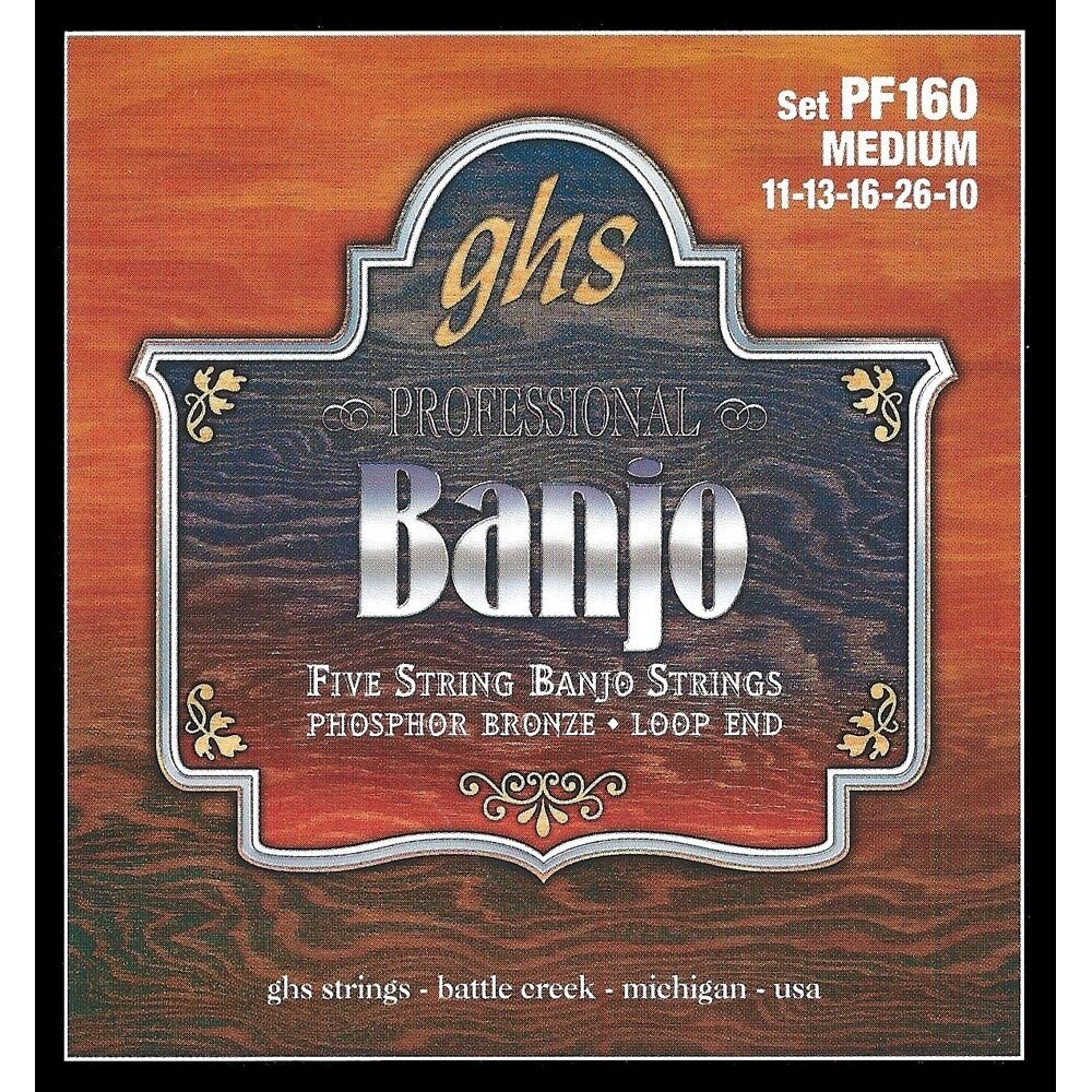 GHS PF160 Strings 5-String Banjo Strings. Phosphor Bronze. Medium (.011-.026)