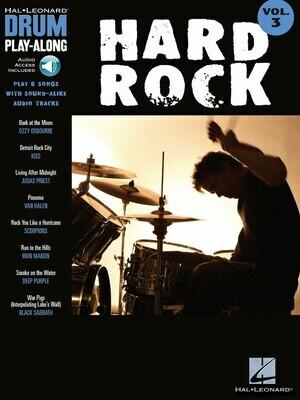 HAL LEONARD DRUM PLAY-ALONG VOLUME 3 BOOK/ONLINE AUDIO - HARD ROCK
