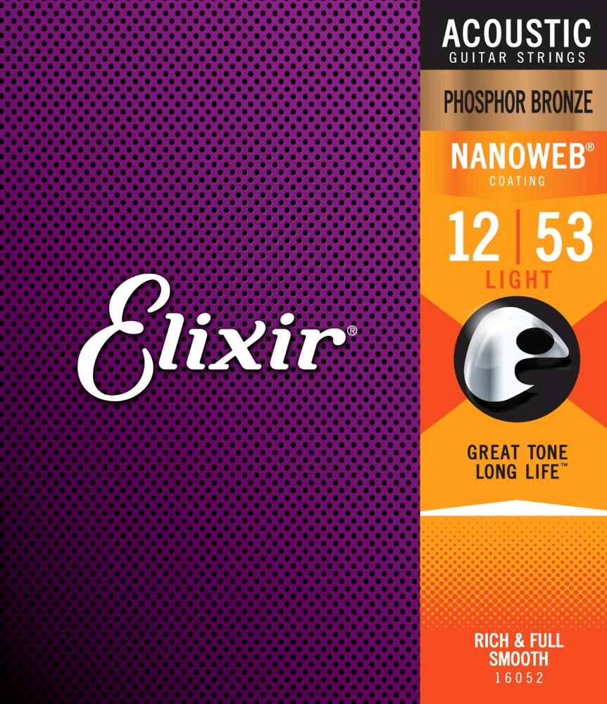 ELIXIR 16052 ENSEMBLE DE CORDES NANOWEB 12-53 POUR GUITARE ACOUSTIQUE