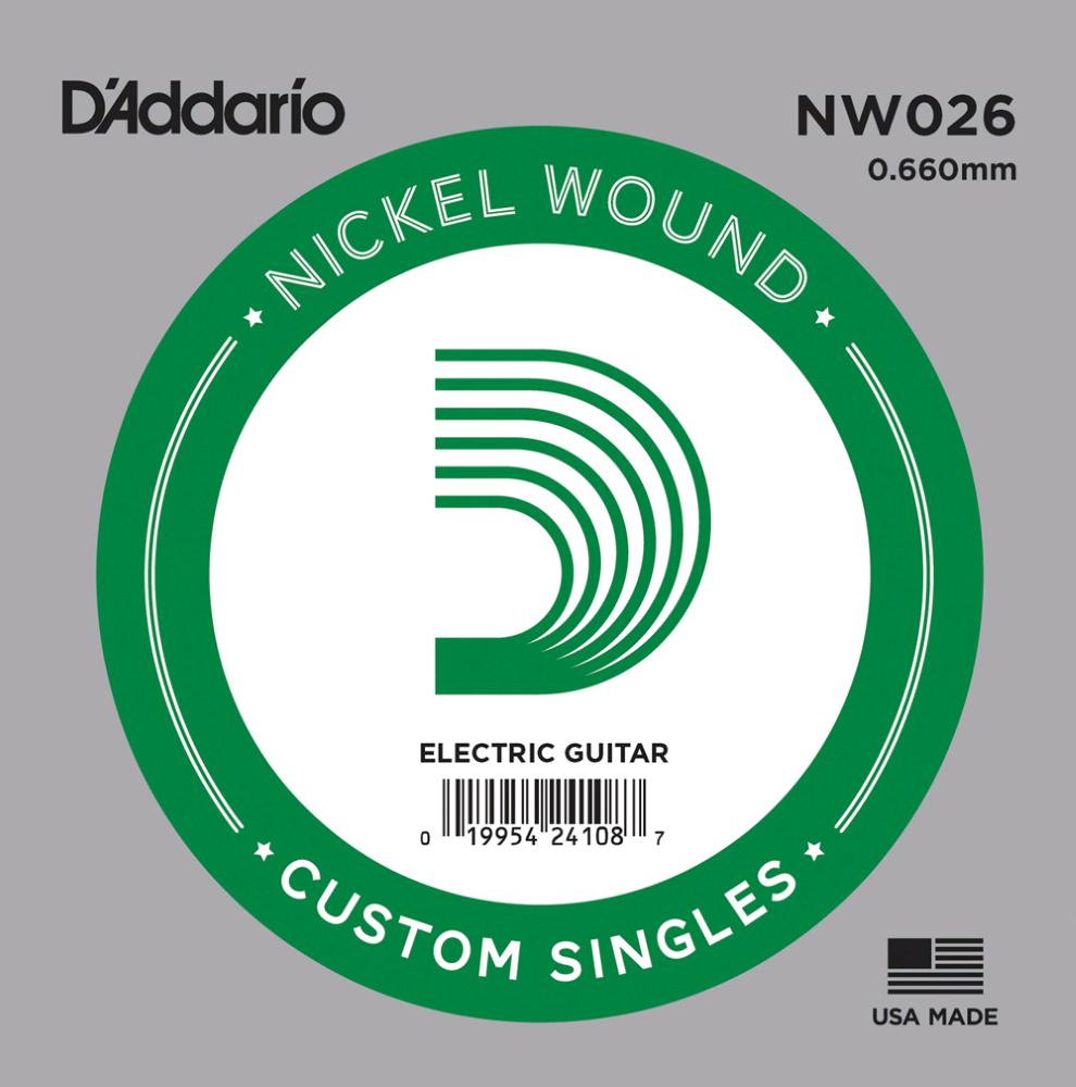 D'ADDARIO NW026 .026 SINGLE NICKEL WOUND