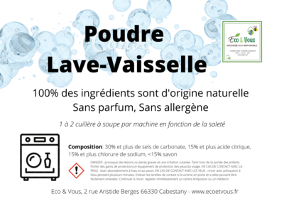 Poudre Lave-Vaisselle Ecologique