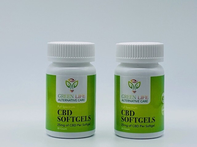 Green Life CBD Softgels 30 count 25mg