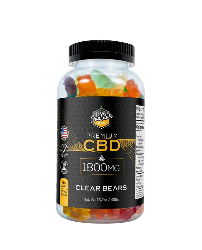 CBD Full Spectrum Gummy Clear Bears 120pcs 1800mg