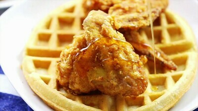 CHICKEN & WAFFLE or BISCUITS