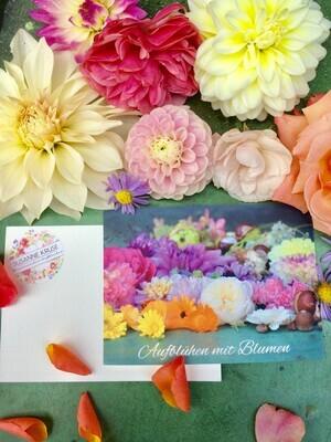 Postkarte Din a6, Naturpapier, Blumen-Flatlay (5 Stück)