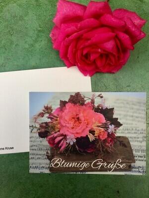 Postkarte Din a6, Naturpapier, Motiv Blumenarrangement mit Musik, 5 Stück