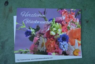 Postkarte, Din a6 , Motiv Blumenstrauß, Herzlichen Glückwunsch, NATURPAPIER, 5 Stück