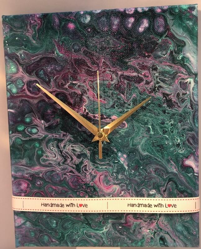 Fluid Art Canvas Clocks
