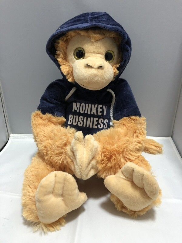 Plush Monkey in a Hoodie