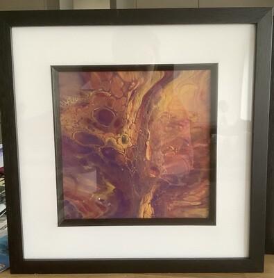 Framed Fluid Art - Pink & Gold