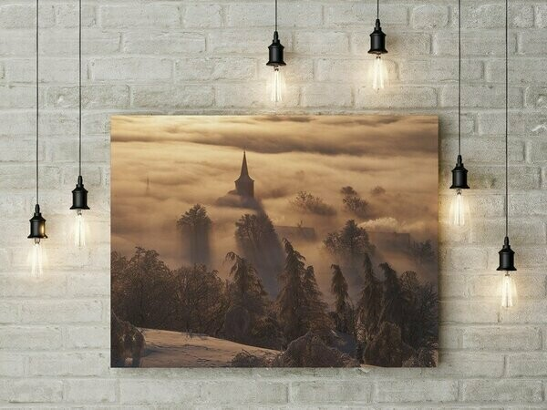 Krušné hory - zima,  foto obraz -  800 motivů, 50 x 30 cm - Stadur deska 5 mm