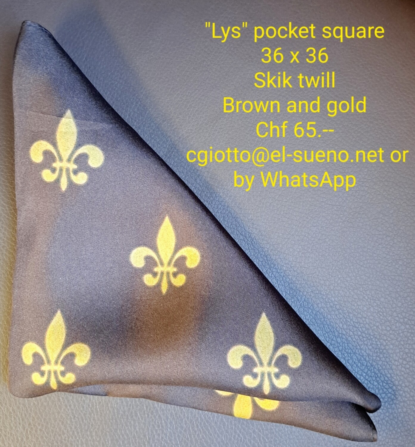 NEW ! LYS Gold and brown Pocket square