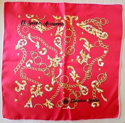 Scarf gold and red 90x90