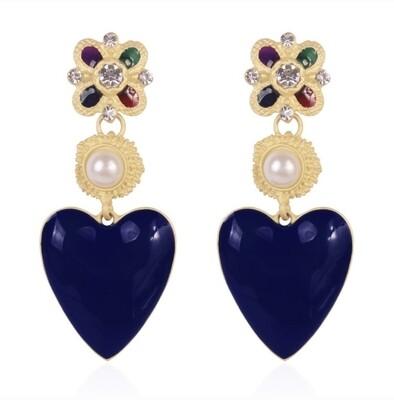 """Earrings """"Baroque à coeurs bleus foncés"""""""