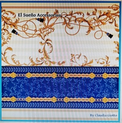 Pocket square Baroque yellow and blue