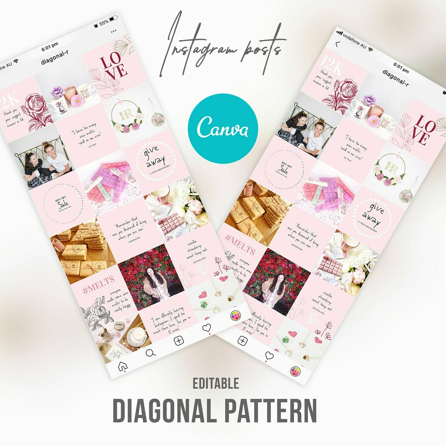 Pink Blush Instagram Canva Editable Template