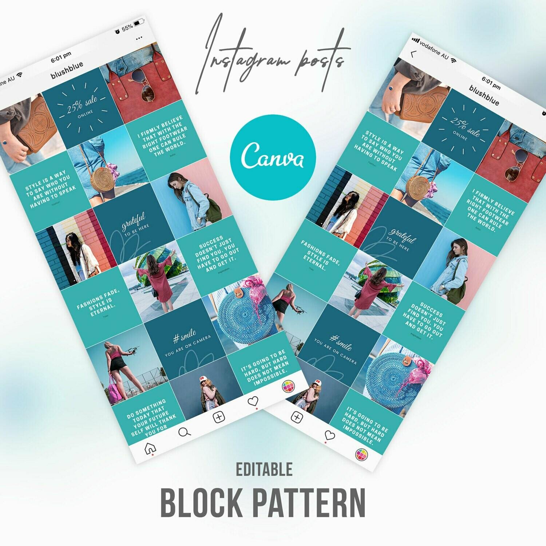 Blue Blush Fashion Instagram Post Template Canva