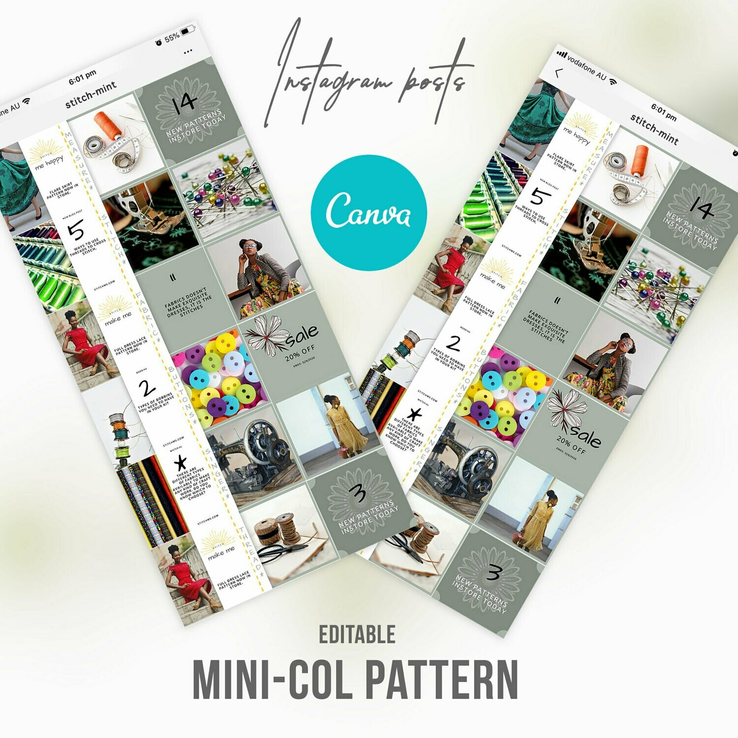 Instagram Post Sewing Knitting Pattern Templates