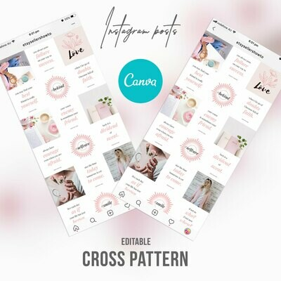 Instagram Feed Templates Pink Cross Theme