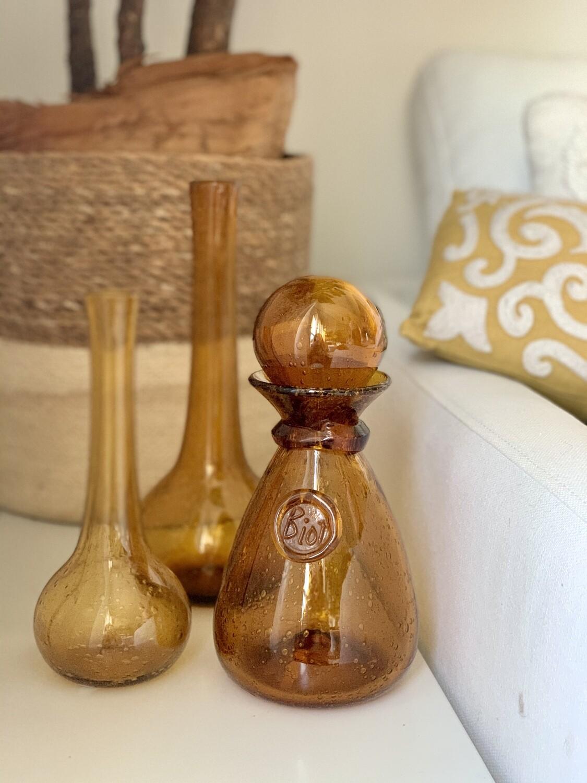 Lot 5 : duo de vases en verre bullé coloris ambre signés Biot