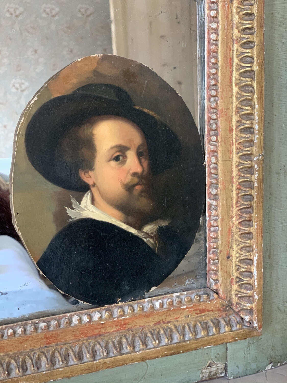 Portrait huile homme au chapeau