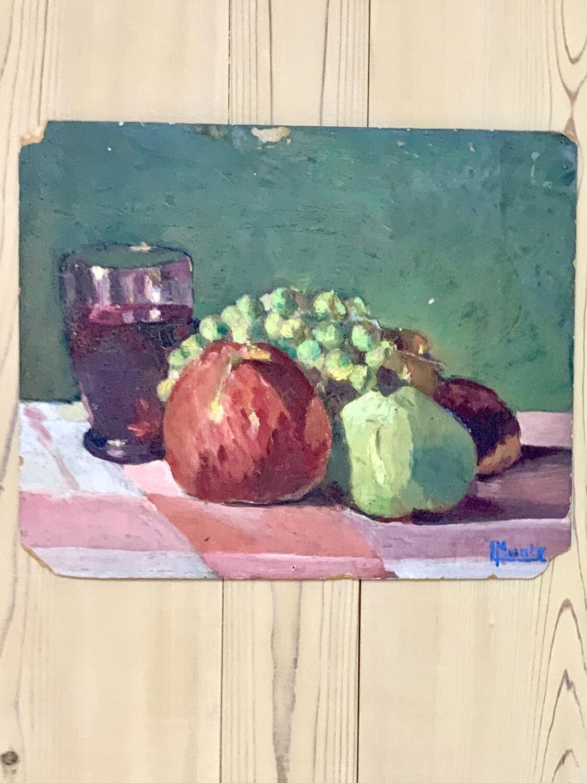 Huile sur carton pomme poire