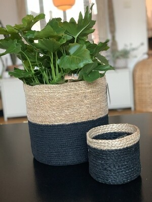 cache pot noir bandeau naturel S