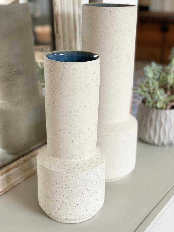 Angon-vase blanc craie et céramique bleu L