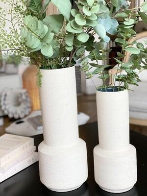 Angon-vase blanc craie et ceramique bleu XL