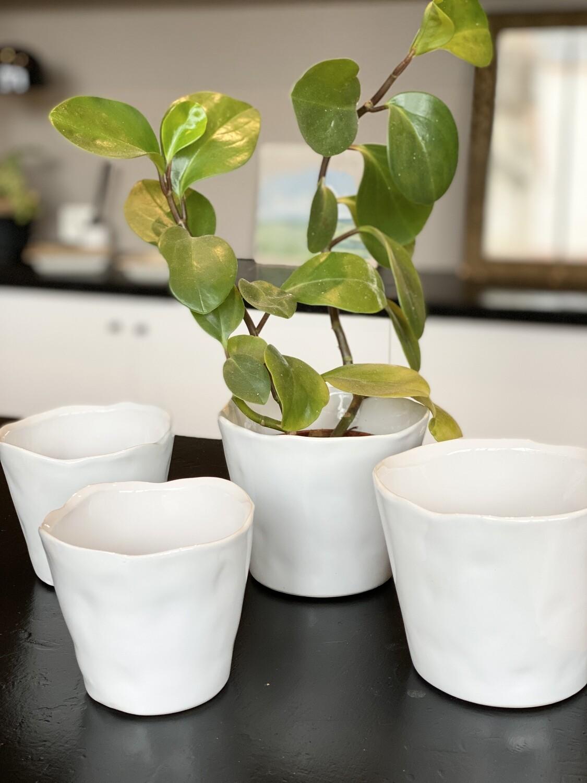Set de 2 cache pots glassure blanche