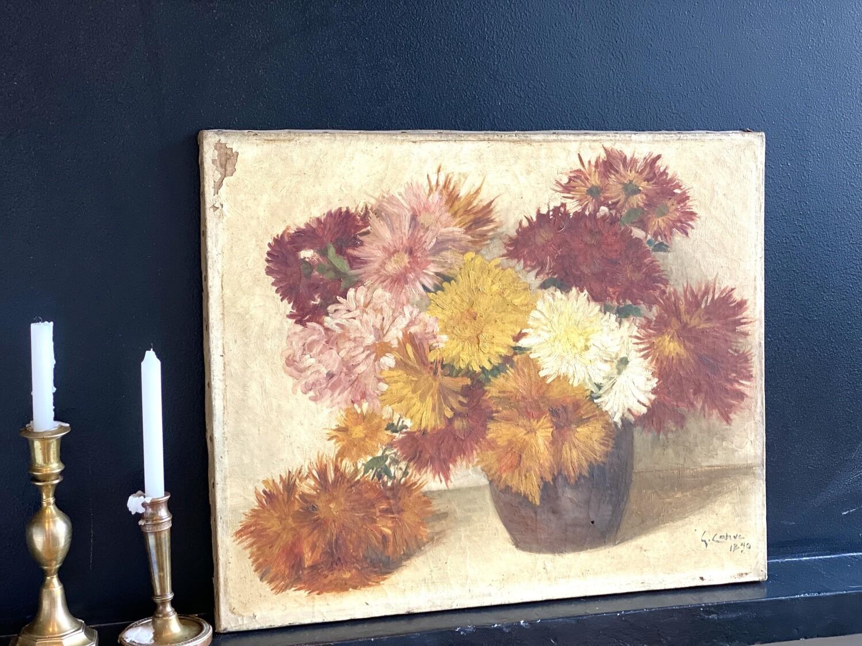 Tableau bouquet de dahlias