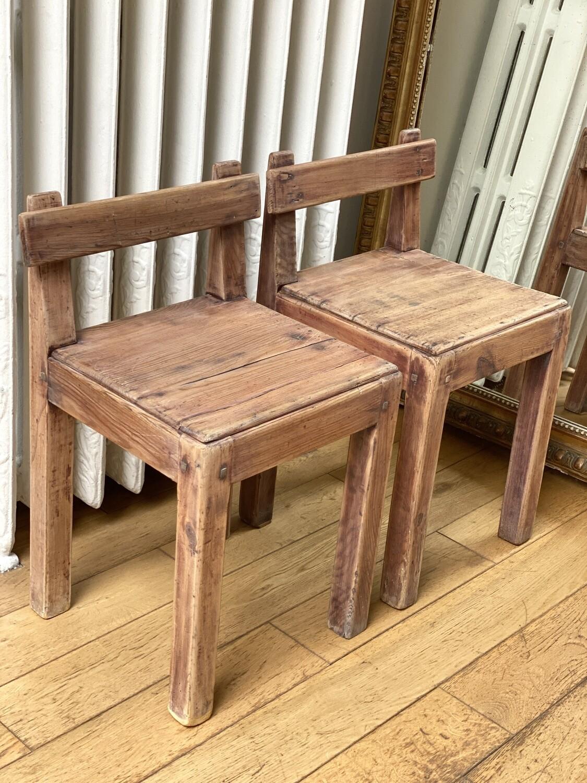 Paire de petites chaises vintage