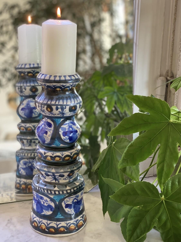 Grand bougeoir en céramique décoré
