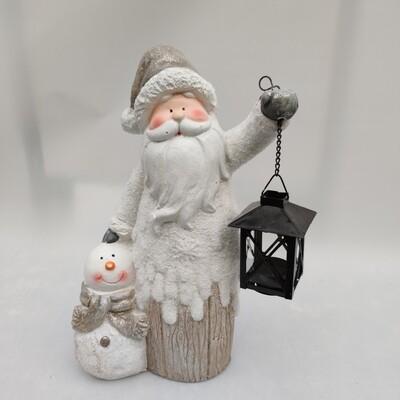 Weihnachtsmann mit Lampe groß Keramik cm 37