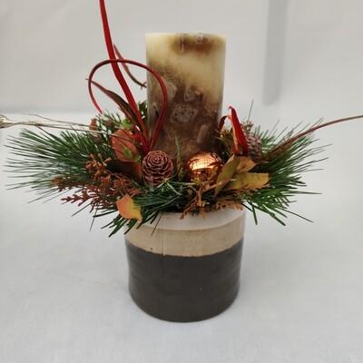 Tischgesteck mit 1 Kerze Marmoriert