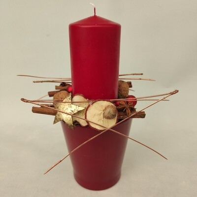 Tisch-Gesteck mit rote Kerze 30 cm hoch
