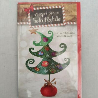 Karte (italienisch) Auguri per un lieto Natale cm 8,5x13,5