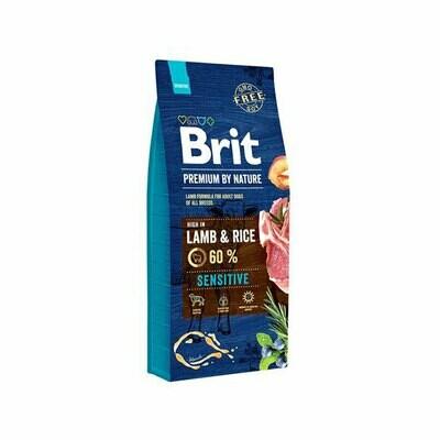 Brit dog sensitive 60% lamb & rice for adult dogs 15kg