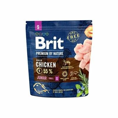 Brit premium junior small breed dog 55% chicken with salmon oil 1kg