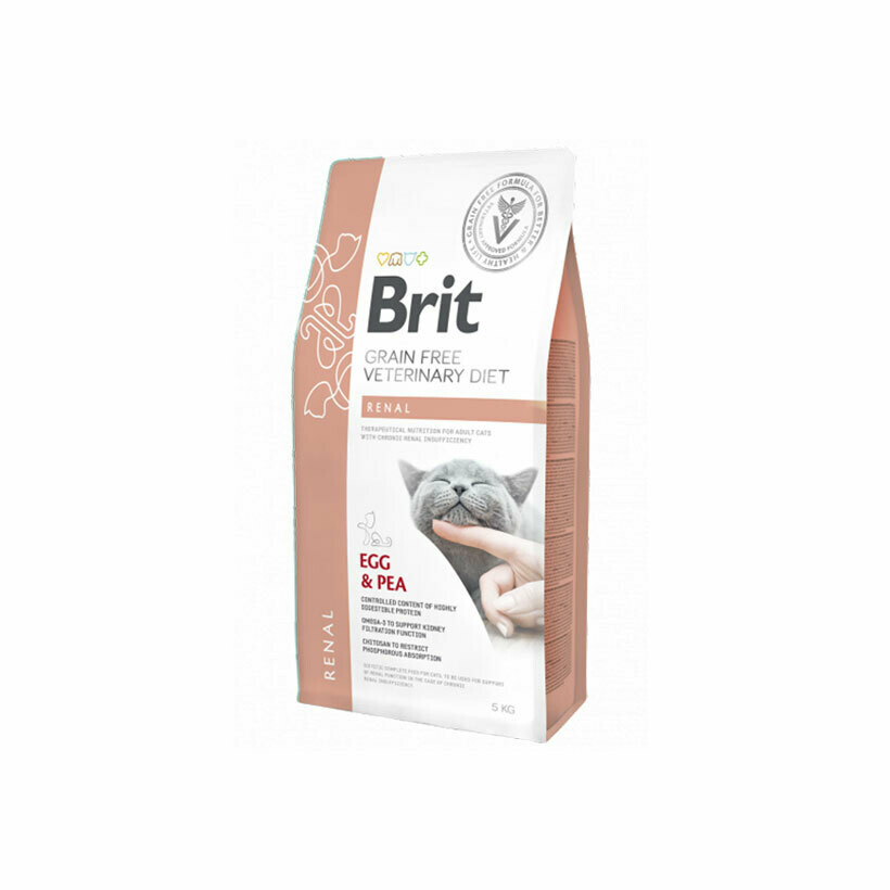 Brit veterinary diet with chronic renal for cats eggs & peas 2kg