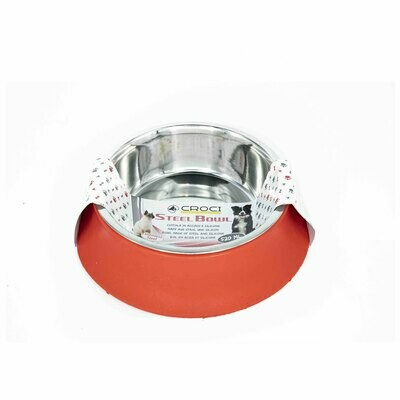 Croci steel silicon bowl red 520ml - 14cm