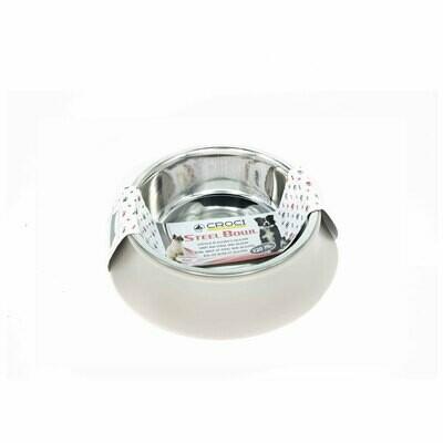 Croci steel silicon bowl beige 520ml - 14cm