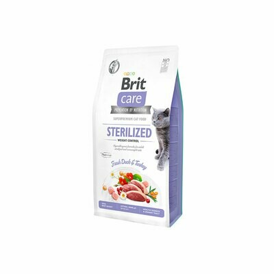 Brit care cat sterilized & weight control fresh duck & turkey 2kgs