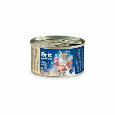 Brit cat can chicken & beef 200grs
