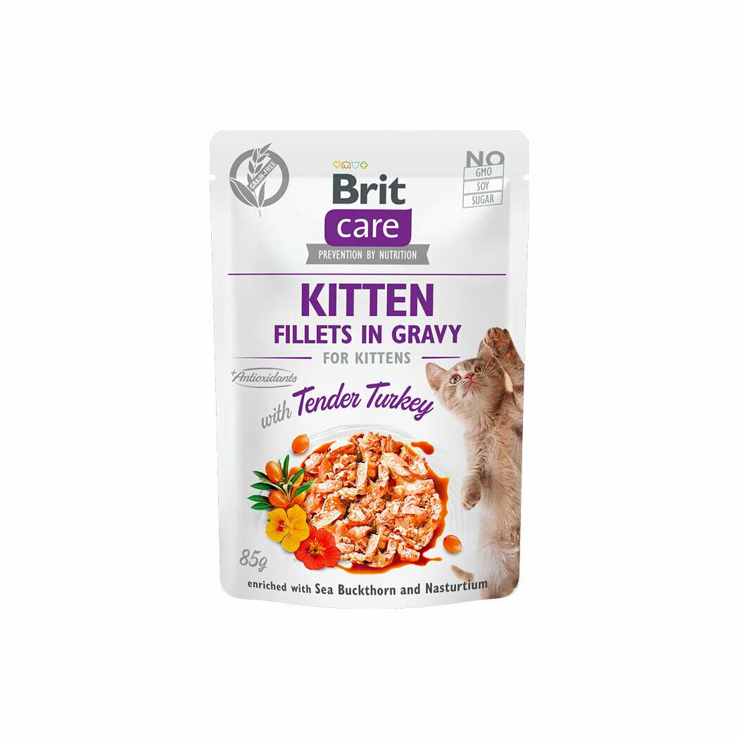Brit care fillet in gravy tender turkey for kittens 85grs.